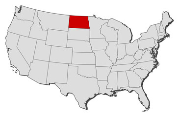 Map of the United States, North Dakota highlighted