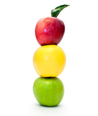 traffic light of apples on a white background