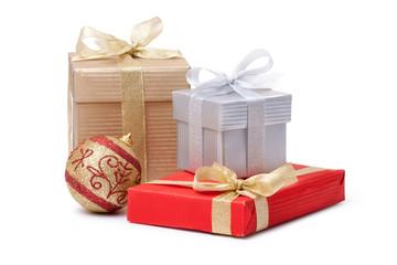 gift box and xmas ball