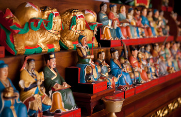 Figurines in chinese templ
