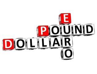 3D Dollar Pound Euro Crossword
