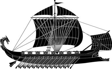 ancient fantasy ship. stencil