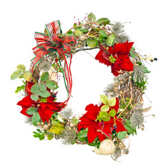 Christmas wreath with poinsettias isolated on white