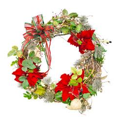 Christmas wreath with poinsettias isolated on white