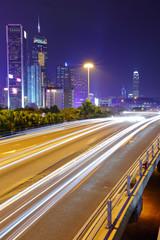 light trails in mega city at night