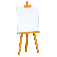 Blank canvas on easel 3d