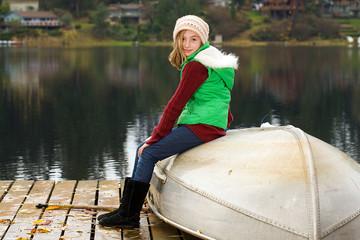 Cute kid at a lake