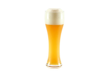 A glass of cold bavarian wheat beer isolated on white