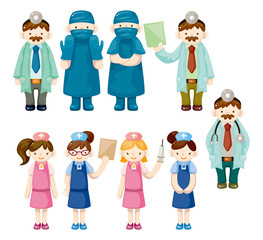 cartoon doctor and nurse icons