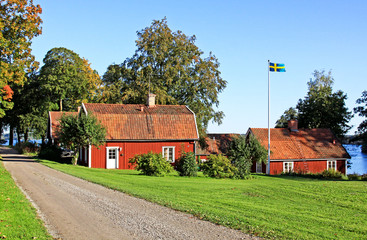 Red idyllic  house in Sweden.