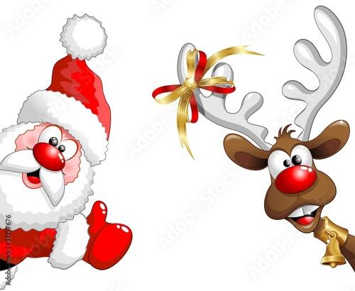 Immagini Santa Claus Natale.Renna E Babbo Natale Ok Funny Santa Claus And Reindeer