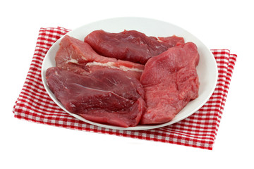 Closeup photo of fresh Ostrich meat - sirloin steak