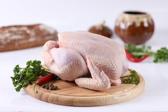 raw whole hen chicken