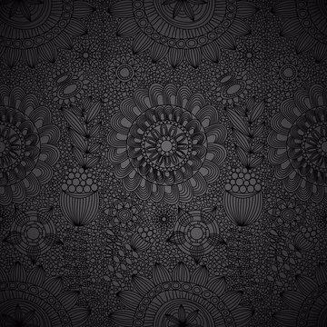Floral line work seamless pattern