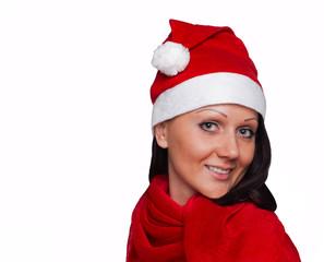 A beautiful girl dressed as Santa Claus