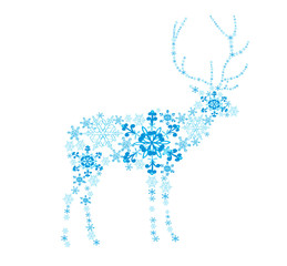 Abstract deer from snowflakes