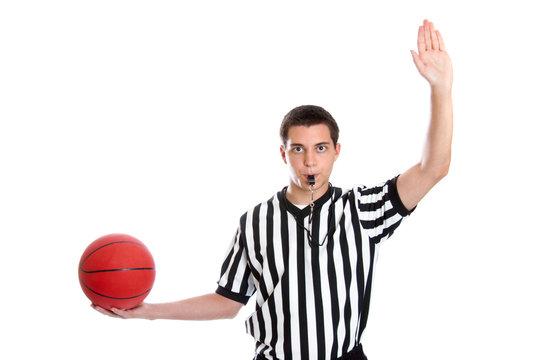 Teen basketball referee giving inbound pass sign