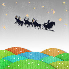 Santa Claus On Sledge With Deer And recycled papercraft