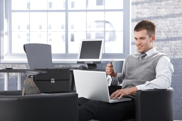 Smiling businessman working on laptop in office