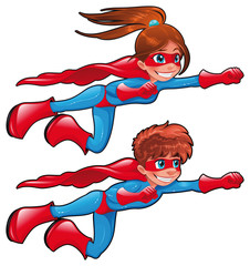 Foto op Textielframe Superheroes Young superheroes. Vector isolated characters