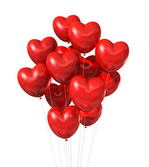 red heart shaped balloons isolated on white