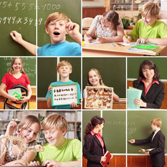 Collage of schoolchildren in studying process and education obje