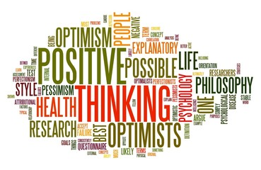 Positive thinking concept in word cloud
