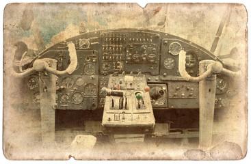 Vintage military postcard isolated, cockpit