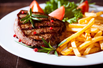 Poster Steakhouse Grilled steak with french fries