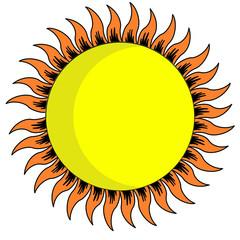 yellow sun on white background