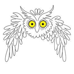 silhouette owl on white background