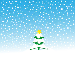 schneelandschaft mit christbaum