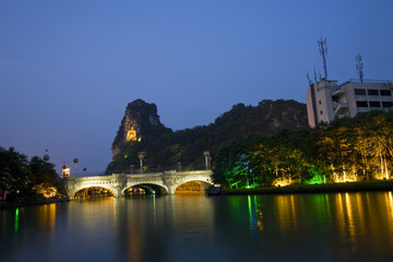 deicai hill and mulong bridge guilin china