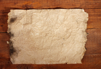 old paper on wooden table