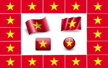 flag of vietnam. icon set. flags frame