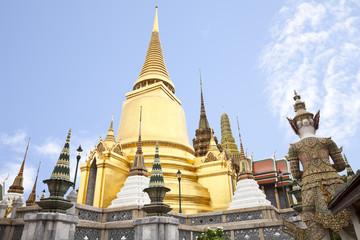 golden pagoda in wat phra kaew, bangkok, thailand
