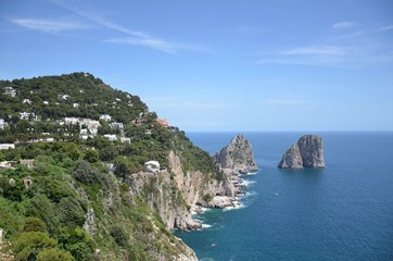 Capri island in Campania, Italy - sea  view with the Faraglioni