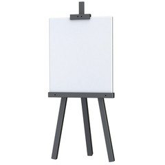 Blank white canvas on black easel 3d