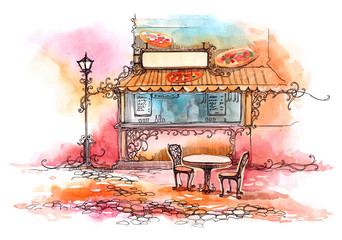 Poster de jardin Drawn Street cafe pizzeria