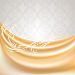 Beige curtain, silk tissue on gray background