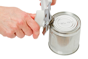 Hands with a can opener
