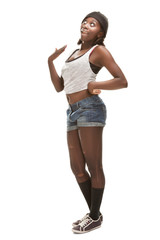 young african woman dancing hip-hop, isolated on white