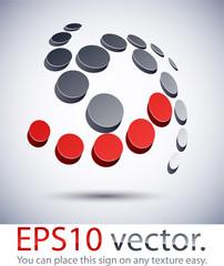 3D modern scroll logo icon.