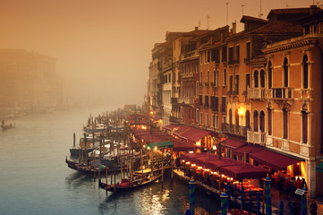 Poster Venice Grand Canal at a foggy evening.