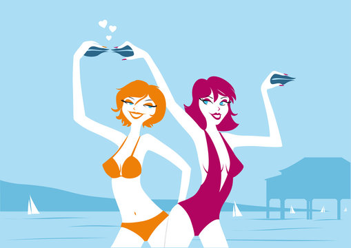 illustration femmes en maillot de bain