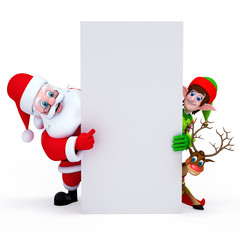 Santa claus, elves and reindeer with sign