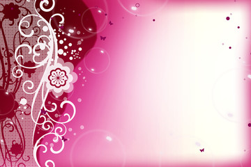 Pink / Purple background with ornament and Butterfly