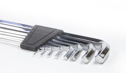 Allen wrench set chrome with white background