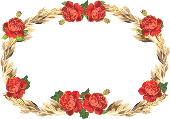 red rose flowers and dry grass frame