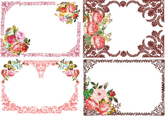 four beautiful isolated rose flower frames